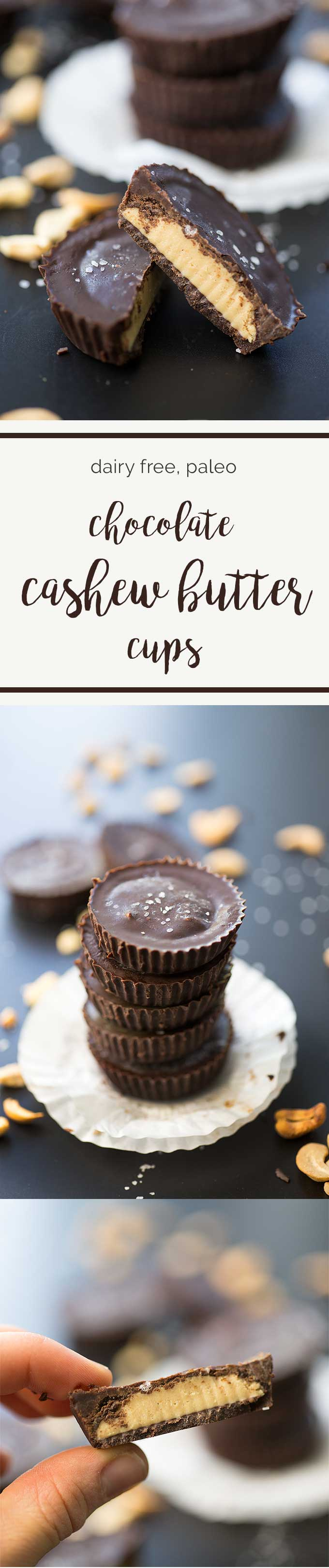 Dark Chocolate Cashew Butter Cups – dairy-free chocolate stuffed with a creamy cashew butter filling. Just one of many Paleo Dark Chocolate Treats!