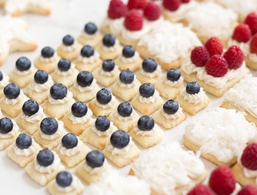 Patriotic Fruit Pizza Cookies: These classic sugar cookies are topped with cream cheese frosting, coconut and fresh berries for a red, white and blue treat!