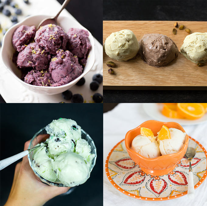Ice Cream Round Up - six of our fave ice cream recipes! From blueberry-buttermilk sherbet to Paleo cookies and cream, this list is sure to please.
