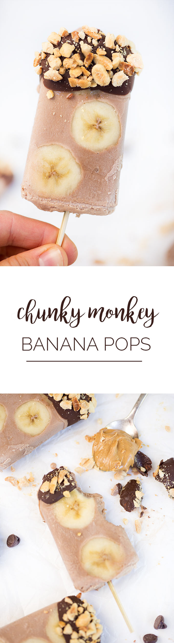 Chunky Monkey Popsicles: A homemade frozen treat made with coconut milk, cocoa powder, bananas and nuts, it's the perfect cool-down summer treat!