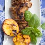 Grilled Pork with Peaches and Basil