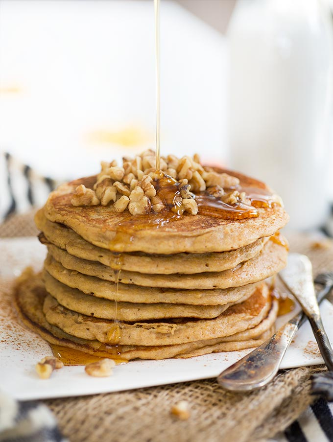 Cinnamon Oat Butternut Squash Pancakes: Kodiak Cakes pancake mix, butternut squash and rosemary create a surprising and delicious twist on breakfast!