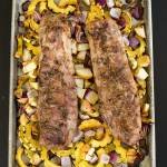 One-Pan Pork Tenderloin with Squash - roasted veg and pork flavored with an herb rub and drizzled with balsamic glaze. Only one-pan and ready in under and hour!