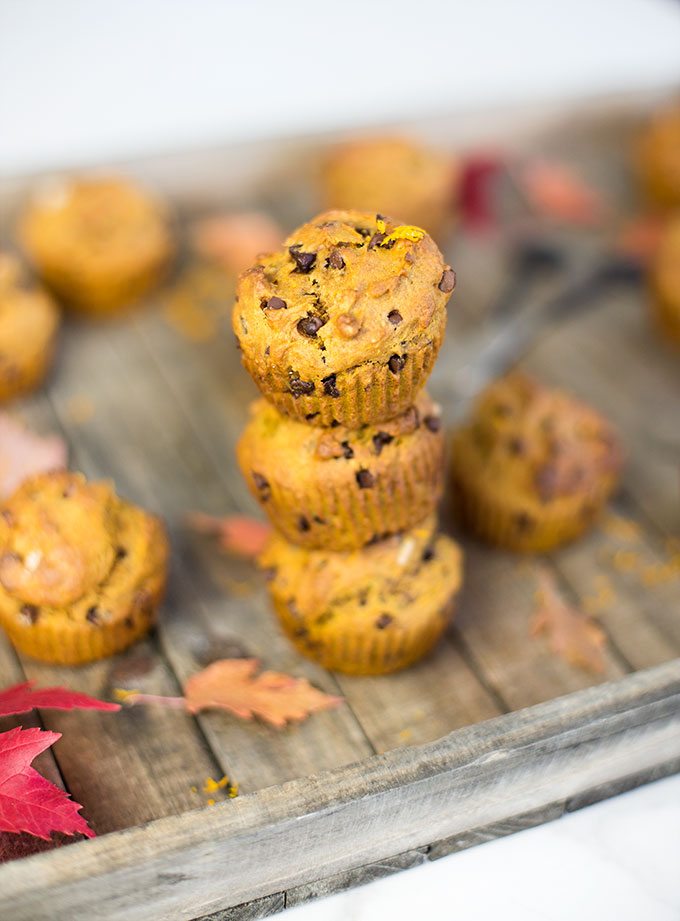 Introducing The Best Pumpkin Chocolate Chip Muffins! Chock-full of gooey chocolate and pumpkin flavor with a dash of zesty orange! You're set for life.