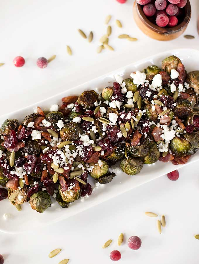 Roasted Bacon Cranberry Brussels
