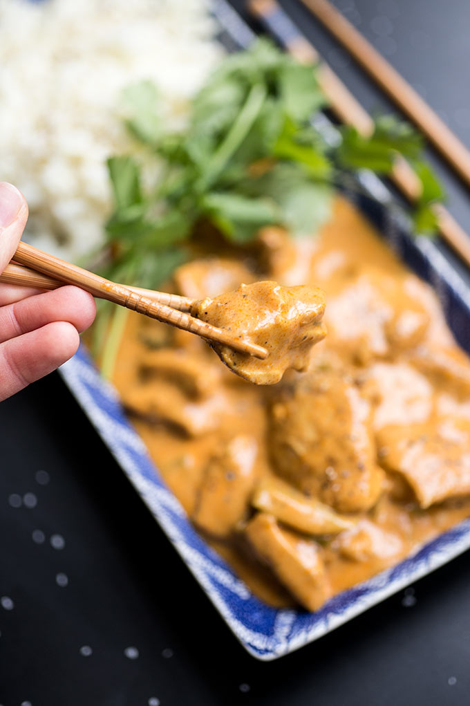 Instant Pot Butter Chicken - you're just a handful of spices and a can of coconut milk away from tender, flavor-packed Butter Chicken. Serve over a bed of warm rice and top with fresh cilantro!