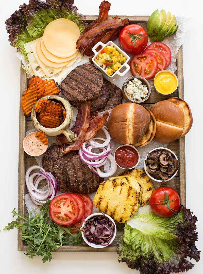 Gourmet Burger Board: Pile grilled burgers on a board, along with every sauce and topping you can think of, for the ultimate make-your-own burger buffet!