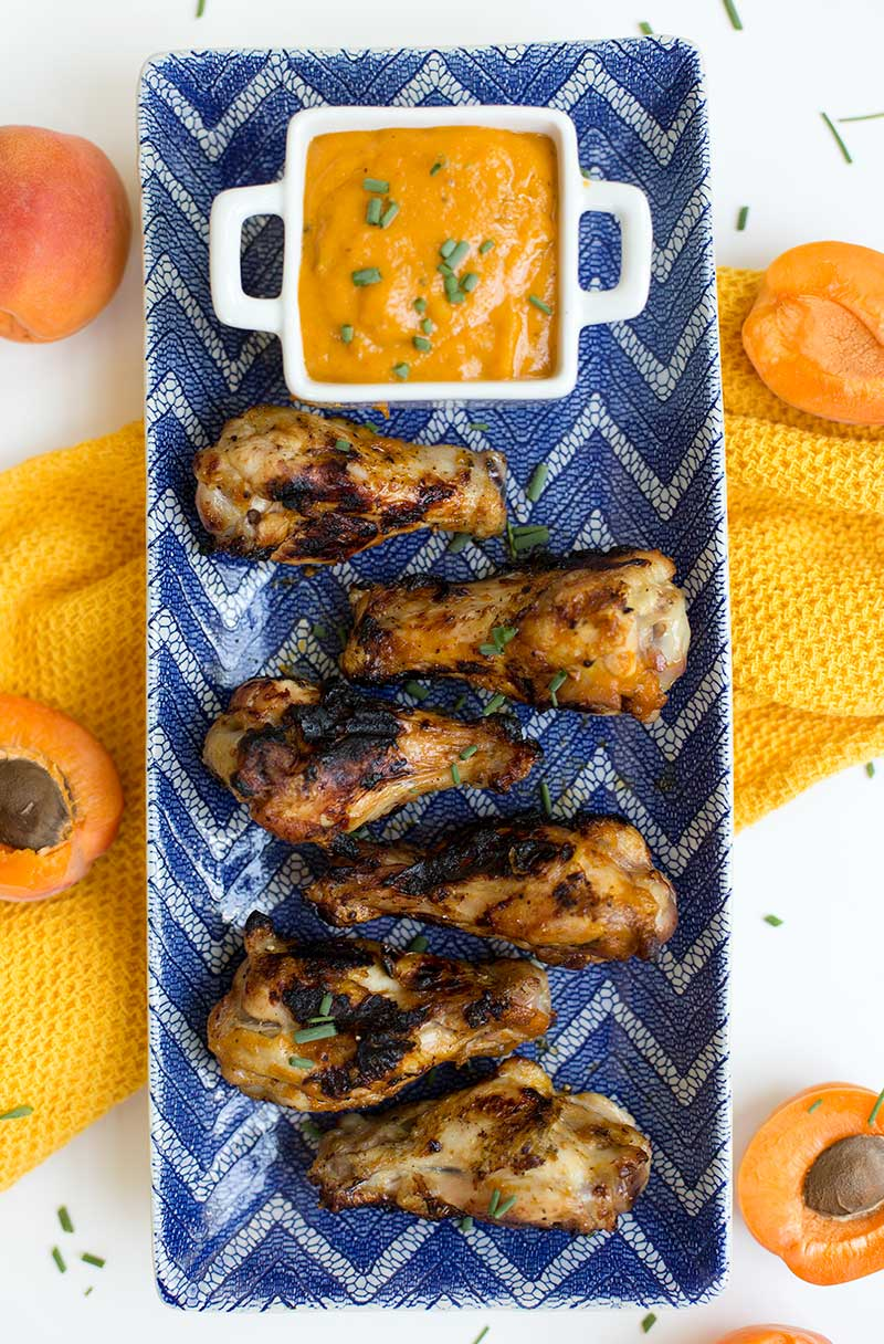 Apricot-Glazed Grilled Chicken: A sweet and spicy apricot-mustard glaze is the perfect compliment to tender pieces of grilled chicken!