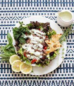 Greek Gyro Salad: Marinated, grilled lamb, garden-fresh veggies, fresh feta cheese and grilled pitas, topped with homemade fresh tzatziki dressing.