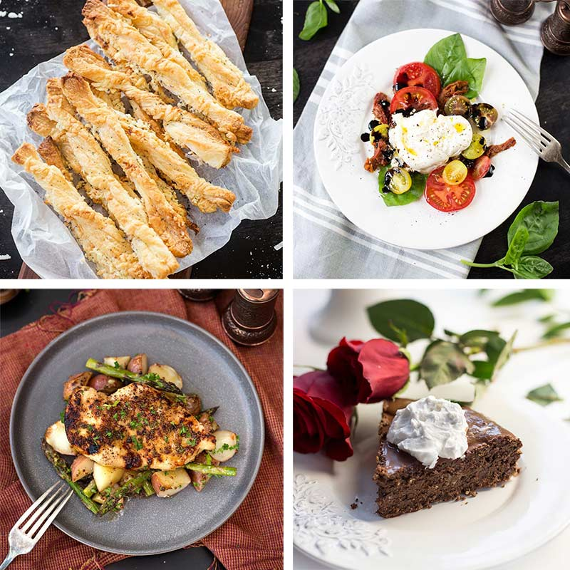 Valentine's Day Dinner Menus: Two easy menus for a homemade Valentine's Day celebration, with recipes such as honey mustard chicken and chocolate torte.