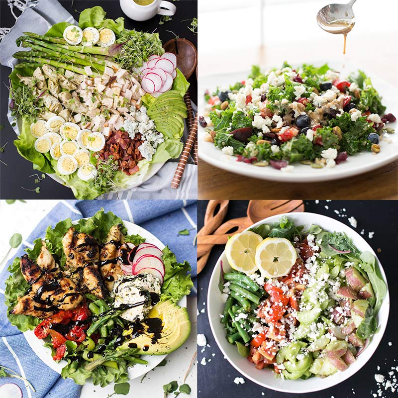 We've compiled a list of our favorite Spring salads - they are all fresh, springy, and perfect for a light weeknight dinner!
