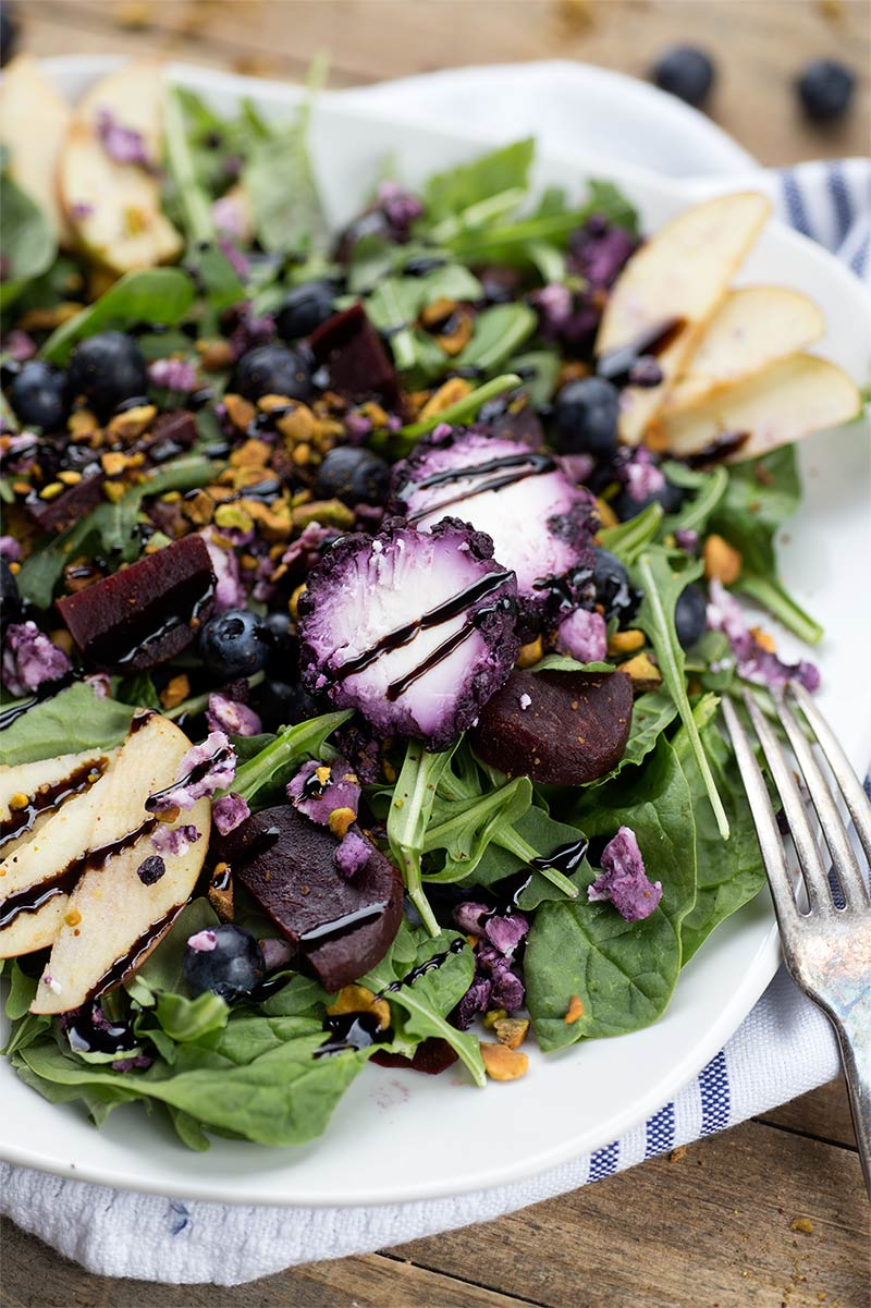 Summer Night Salad - greens, fresh blueberries and beets, goat cheese and pistachios are combined into a tasty salad, perfect for a summer night.