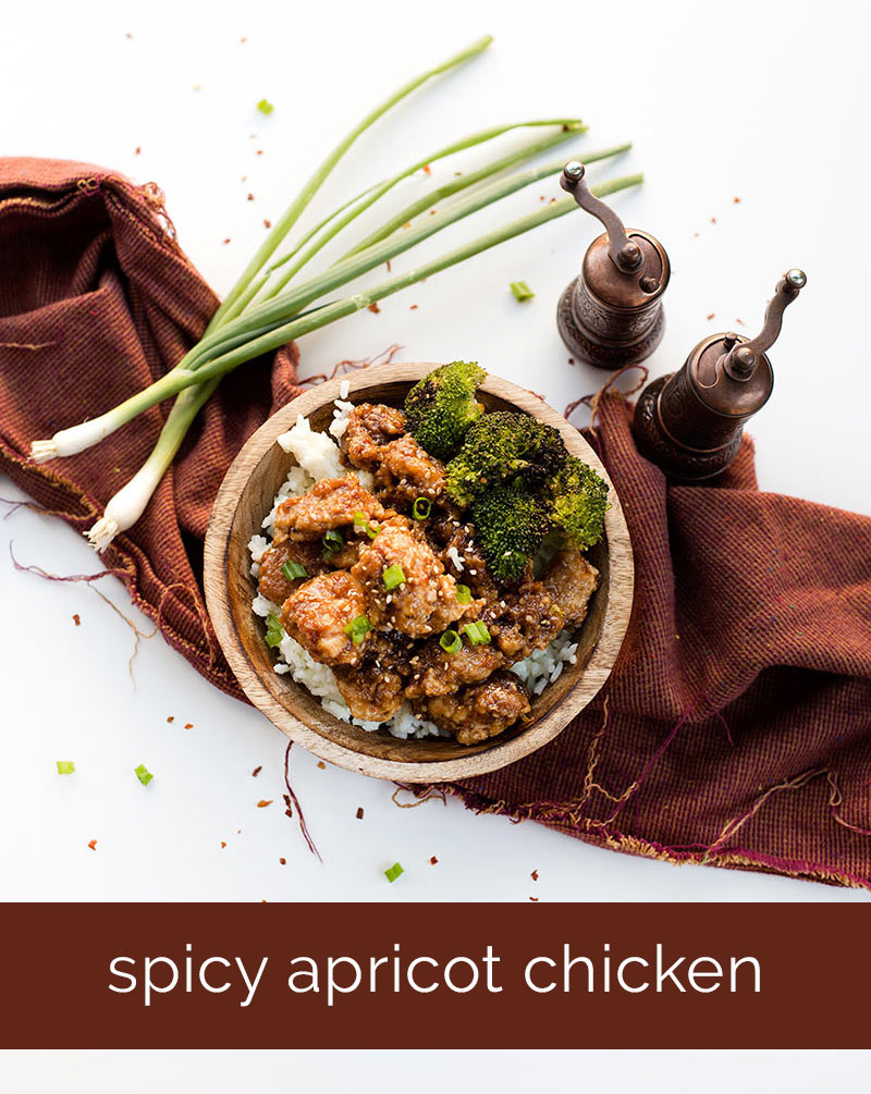 Sticky Apricot Chicken - tender breaded chicken tossed in a spicy, sticky sauce makes for a flavorful dish to serve over rice!