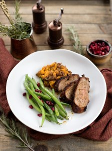 Orange Honey Ginger Pork Tenderloin: Pork Tenderloin marinated in a soy-ginger dessing, seared and roasted to a caramelized perfection.