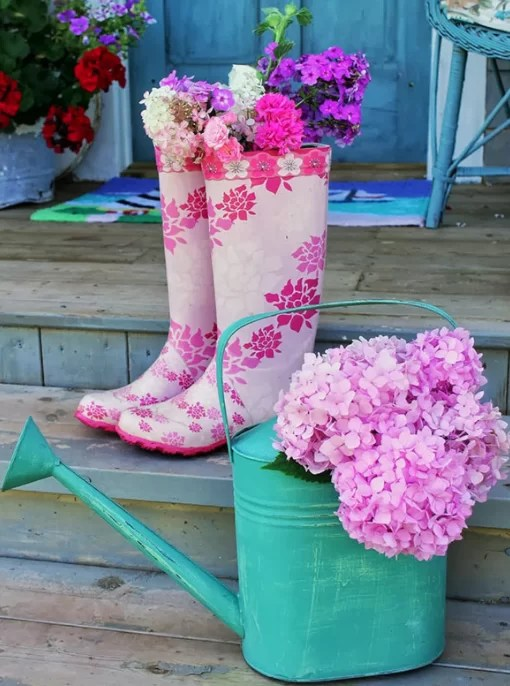 Painted gumboots - plant pot
