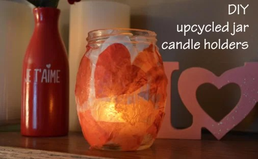 Jar candle holder with scrapbook paper candlelight