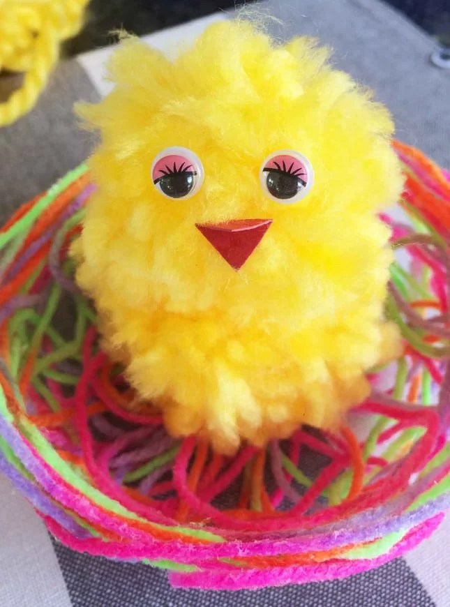 easter string basket and pompom chicken completed chick