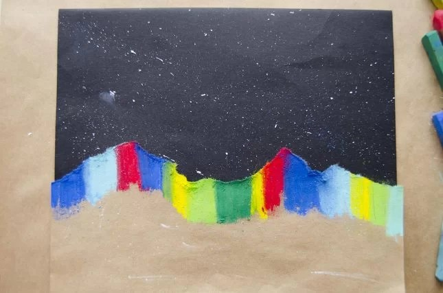 Matariki and the southern lights art project colour rub