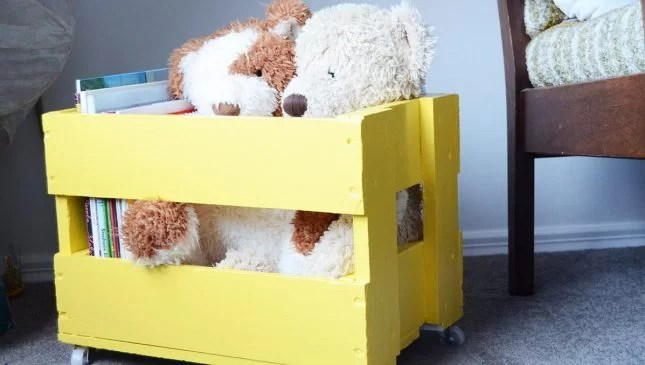 upcycled beer crate toy box-side