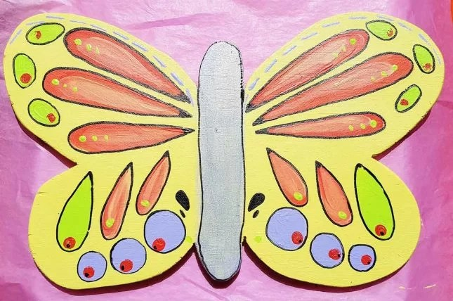 Garden butterfly art project finished