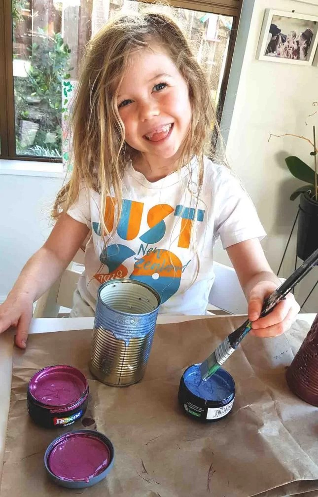 Matariki Tin Can Lanterns painting Resene test pots