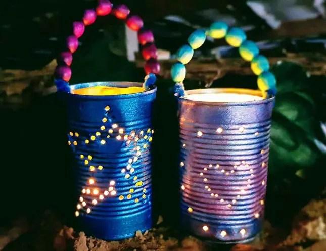 Upcycled tin can lanterns for Matariki