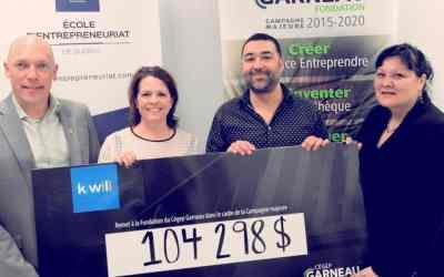 Kiwili fait un don de 100 000 $ pour soutenir l'École d'entrepreneuriat de Québec et annonce un programme de soutien et de formation