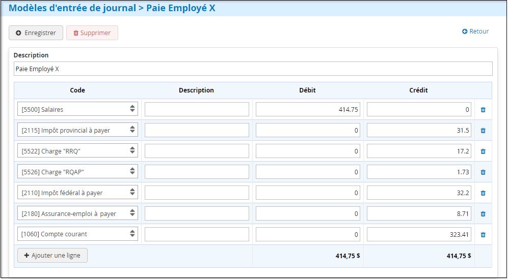Modèle paie employé