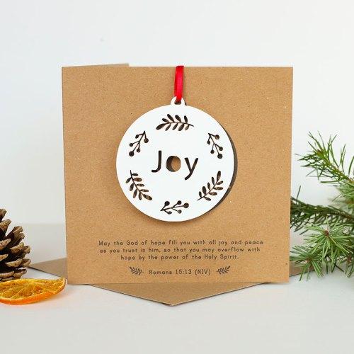 JOY hanging papercut decoration card