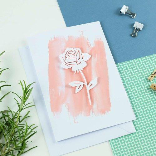 Rose 3D Paper Cut Card
