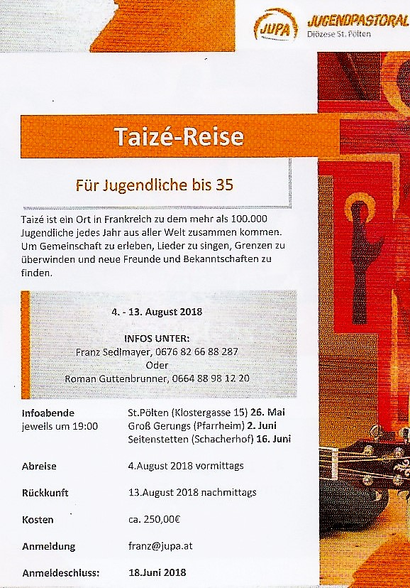 Taize-Reise: 4.-13. August 2018