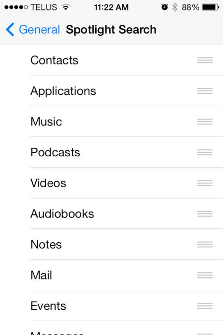 iOS 7 Spotlight Setting - iOS 7 - Spotlight Setting