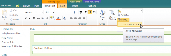 SharePoint edit HTML source 600x197 - SharePoint Tip - How To Set Word Wrapping on List Column Headers
