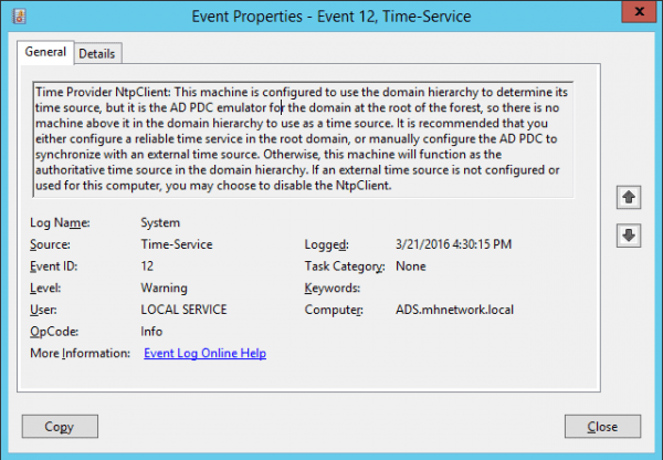 Event Viewer - Time Services