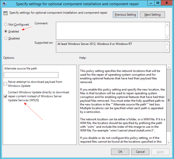 Group Policy - Specify settings for optional component installation