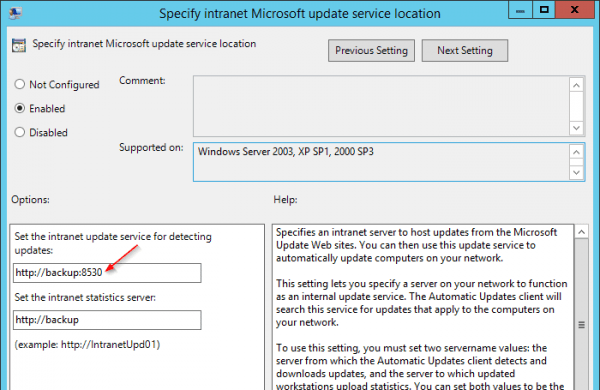 Group Policy Specify settings for optional component installation with port number 600x390 - Fix Windows Update Cannot Search for New Updates Error 80244008