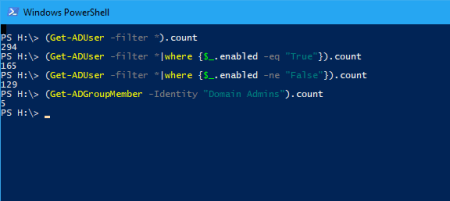PowerShell count AD User Accounts - PowerShell - count AD User Accounts