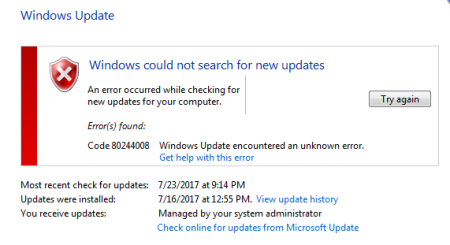 Windows Update error 80244008 Windows 7 10 - Windows Update error 80244008 - Windows 7