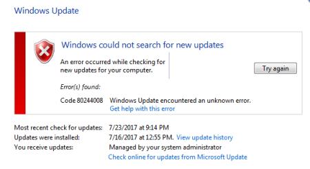 Windows Update error 80244008 Windows 7 10 - Windows Update error 80244008 - Windows 7