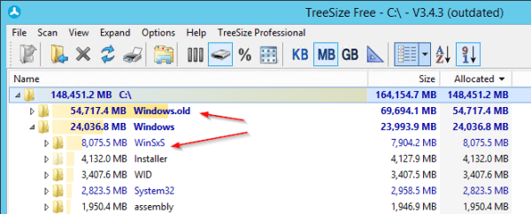 Folder Analysis Windows Server 2012 600x242 - How To Clean Up Windows.old and WinSxS Folders on Windows Server 2012 R2
