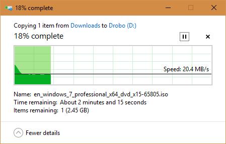 Drobo on USB 218 complete 2017 09 11 09 40 19 - Why My Drobo 5C DAS Storage is So Slow?