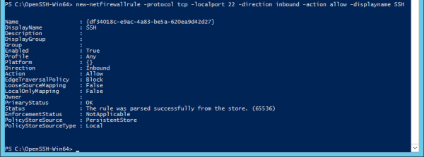 PowerShell open ssh port 600x223 - Setting Up SFTP or SSH Server on Windows Server 2012 R2