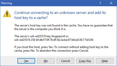 WinSCP SSH Warning - WinSCP - SSH Warning