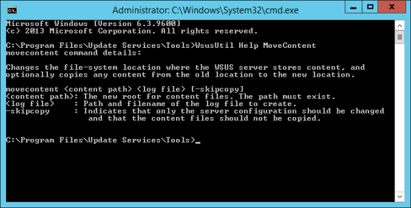 WsusUtil movecontent help 600x304 - How To Move WSUS Content Folder to A Different Location