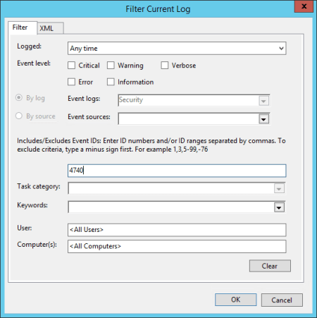 Event Viewer Security filter for 4740 - Event Viewer - Security - filter for 4740
