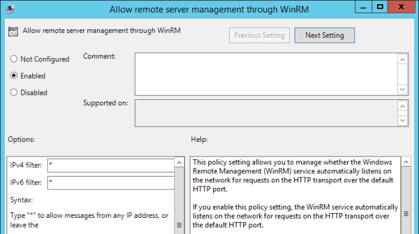 Group Policy - Allow remote server management through dialog