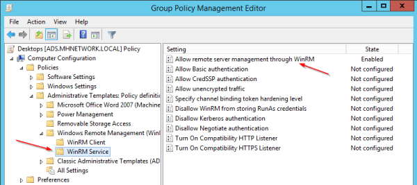 Group Policy - Allow remote server management through