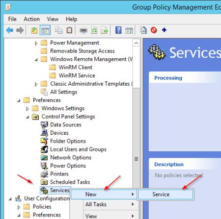 Group Policy New service - Group Policy - New service