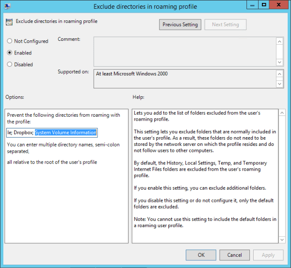 Group Policy Enable Exclude Directories 600x551 - Fixing Roaming User Profile Not Completely Synchronized on Windows Server 2012
