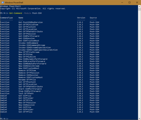 Windows PowerShell Posh SSH Cmdlets 600x511 - Managing FTP/SFTP/SSH using PowerShell on Windows 10